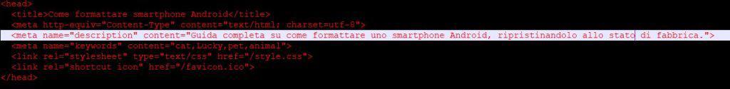esempio meta tag description editor html