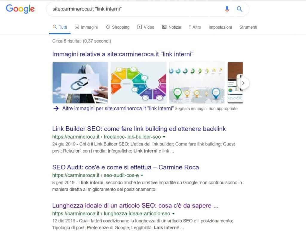 ricerca parole chiave per link interni google operatore site