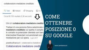 featured snippet come ottenere posizione zero google