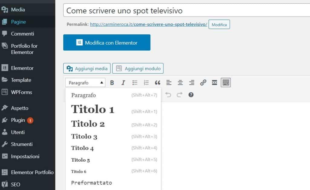 inserire tag intestazione wordpress